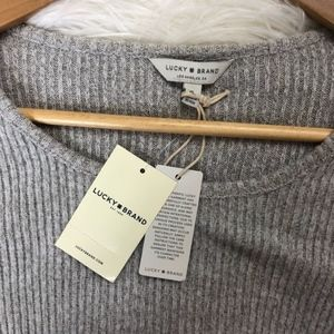 Lucky Brand Sweaters - Lucky Brand Ribbed Long Sleeve Top Sweater Ruffle